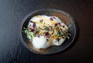 Albóndigas de camarones de hiedra asiática en mousse de miso