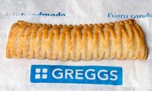 Rollo de salchicha vegana Greggs.