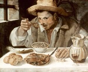 Il Mangiafagioli (The Bean Eater), de Annibale Carracci, óleo sobre lienzo, c1585.