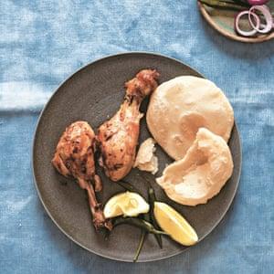 Asma Khan tengri kabab (también conocido como pollo muslo kabab).