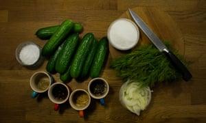 Ingredientes para el pepinillo