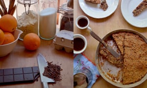 Rachel Roddy Pastel de chocolate y almendras.