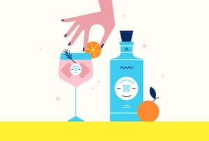 Ilustración de la mano colocando una rodaja de naranja en el borde del cóctel junto a la botella de ginebra Malfy