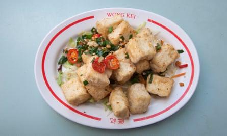 Cuajada de frijoles fritos con sal y pimienta Wong Kei