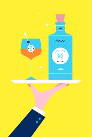 Ilustración de la mano que sostiene la bandeja con un cóctel y una botella de Malfy Gin