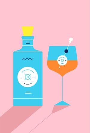Ilustración de la botella de gin Malfy junto al cóctel