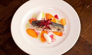 Caballa submarina con una cucharada de crema agria y discos de zanahoria crujientes en una placa blanca redonda