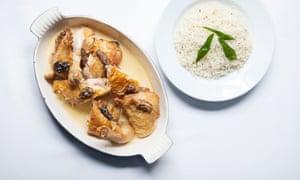 Noble Rot Chicken, Morels y Vin Jaune con Pilaf, cortesía del Chef Alex Jackson.