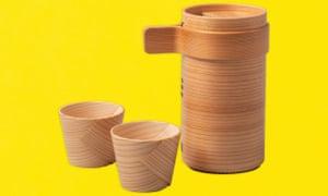 Juego de sake de madera curvada Magewappa