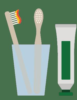 Ilustración de cepillos de dientes de vidrio