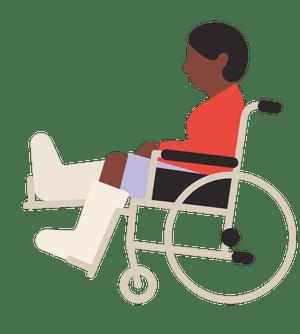 Ilustración de una persona en silla de ruedas con las piernas enyesadas