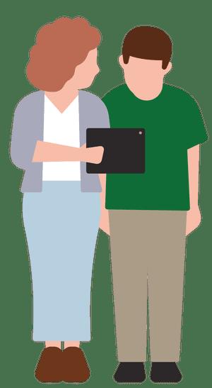 Ilustración de la madre mostrando algo a su hijo en una tableta