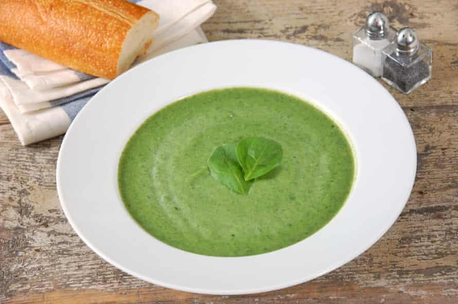 Sopa cremosa de espinacas.