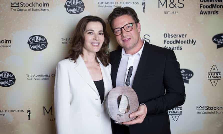 Nigella Lawson y Jamie Oliver en los premios OFM en 2017.
