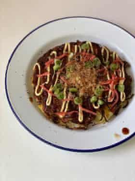 Okonomiyaki híbrido de Felicity.