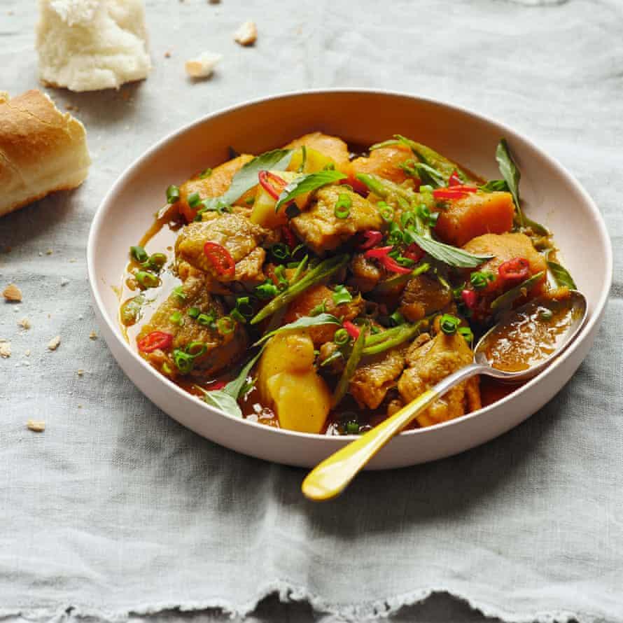 Ca ri ga bi - Pollo al curry con calabaza.
