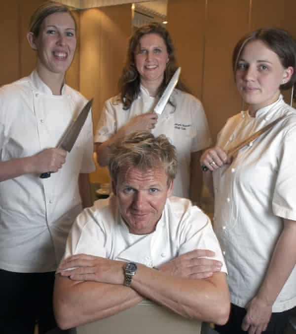 Smyth, extremo izquierdo, con Gordon Ramsey, Angela Hartnett y Gemma Tuley en 2008.