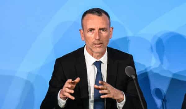 El CEO de Danone, Emmanuel Faber, habla en la Cumbre de Acción Climática de la ONU en Nueva York en 2019.