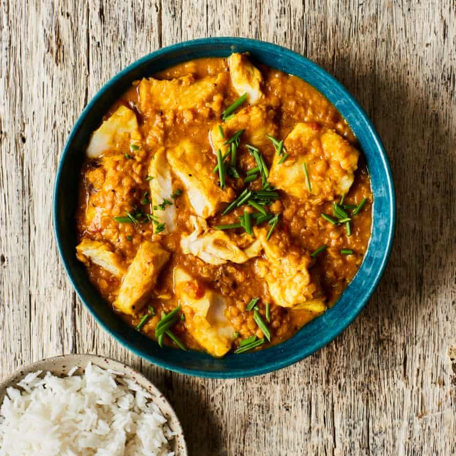 Curry de lentejas y pescado de Chetna Makan