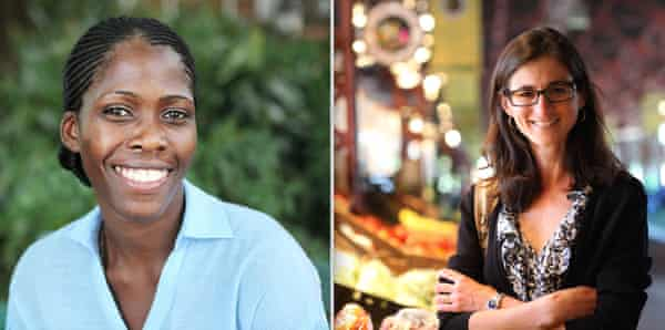 Izquierda: Emma Naluyima Mugerwa, veterinaria y agricultora en una granja mixta de un acre en Uganda; Lora Iannotti, especialista en nutrición infantil y materna y autora principal del Informe de nutrición de la ONU 2021
