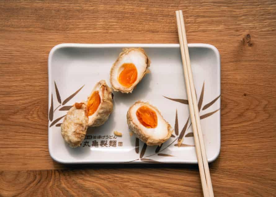 El huevo tempura en Marugame Udon.